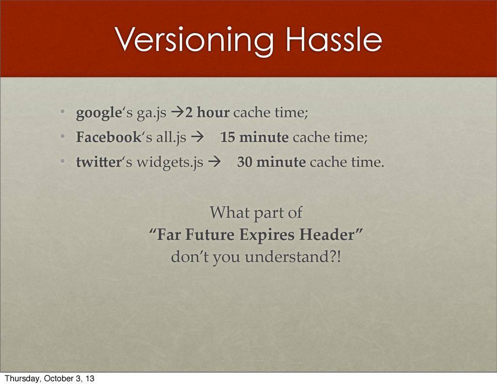Versioning Hassle • google's  ga.js  à2  hour ...