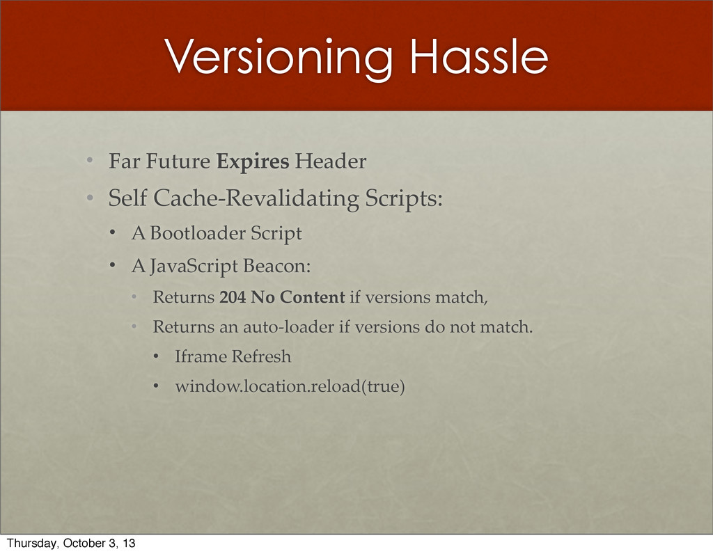 Versioning Hassle • Far  Future  Expires  Heade...