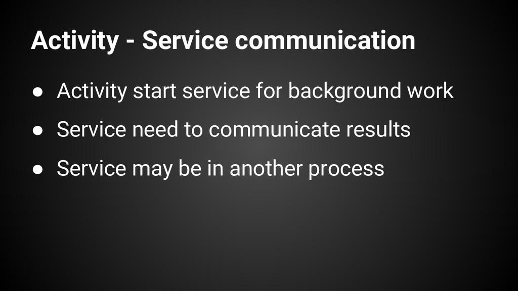 Activity - Service communication ● Activity sta...