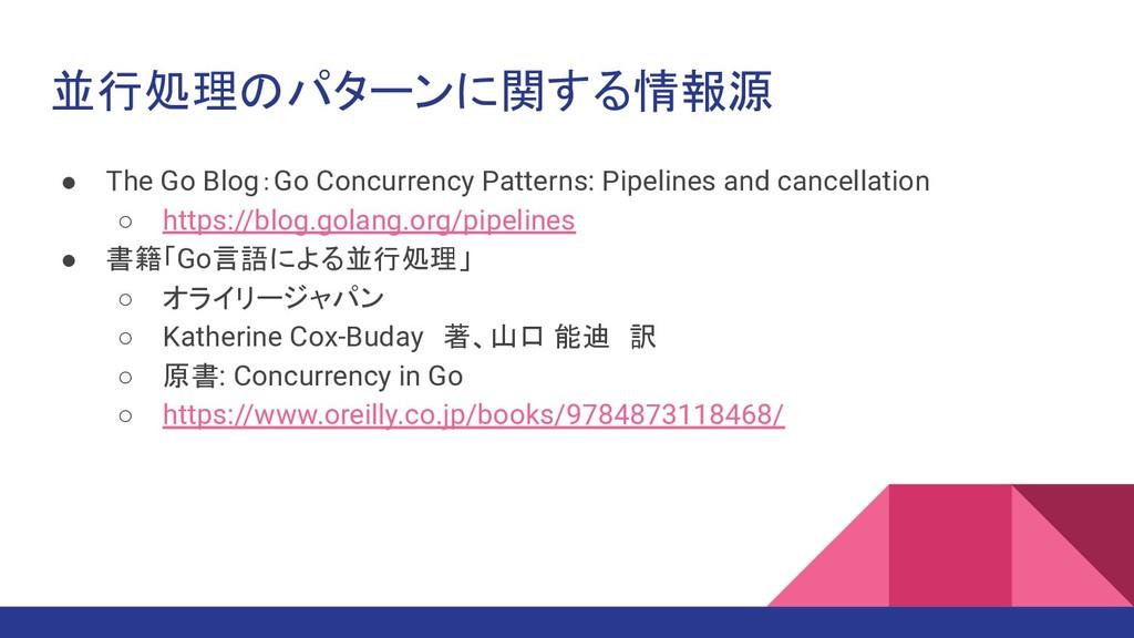 並行処理のパターンに関する情報源 ● The Go Blog:Go Concurrency P...