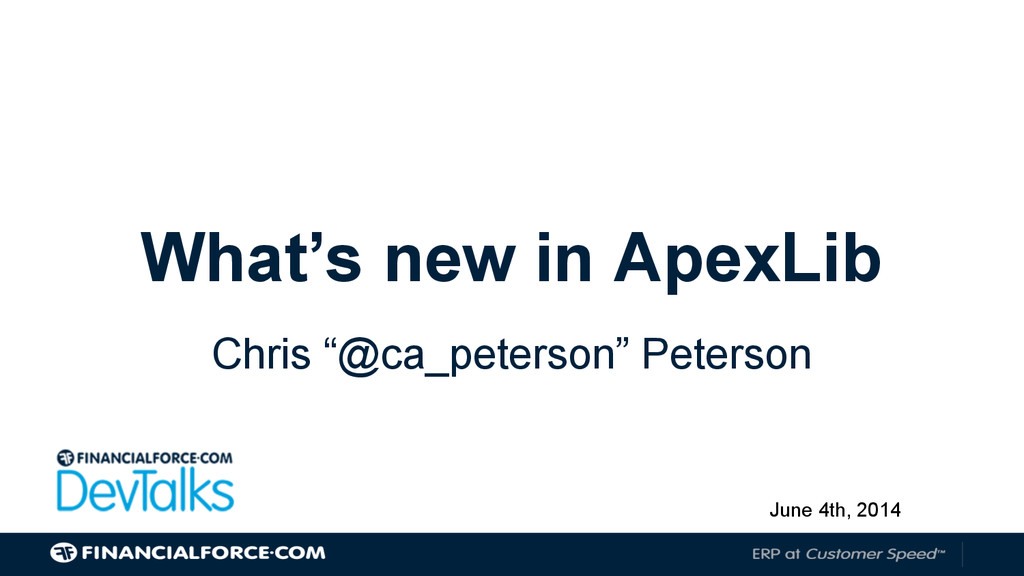 """What's new in ApexLib Chris """"@ca_peterson"""" Pete..."""