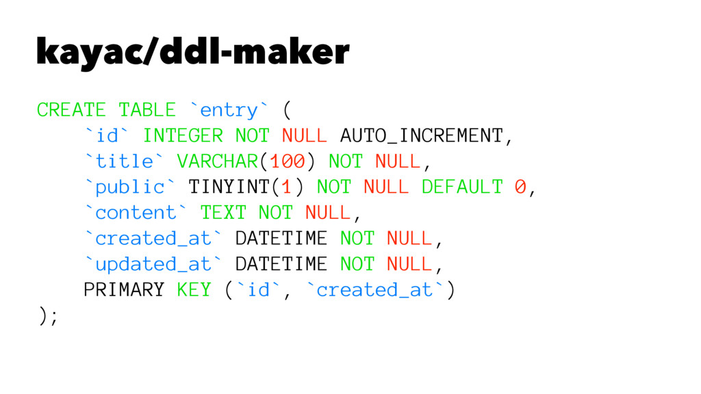kayac/ddl-maker CREATE TABLE `entry` ( `id` INT...