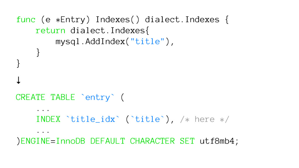 func (e *Entry) Indexes() dialect.Indexes { ret...