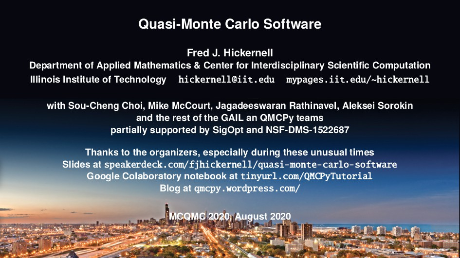 Quasi-Monte Carlo Software Fred J. Hickernell D...