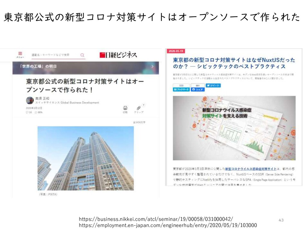 東京都公式の新型コロナ対策サイトはオープンソースで作られた 43 https://busine...
