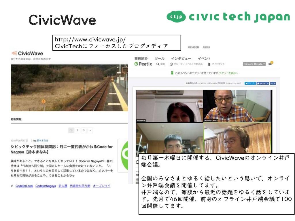 http://www.civicwave.jp/ CivicTechにフォーカスしたブログメデ...