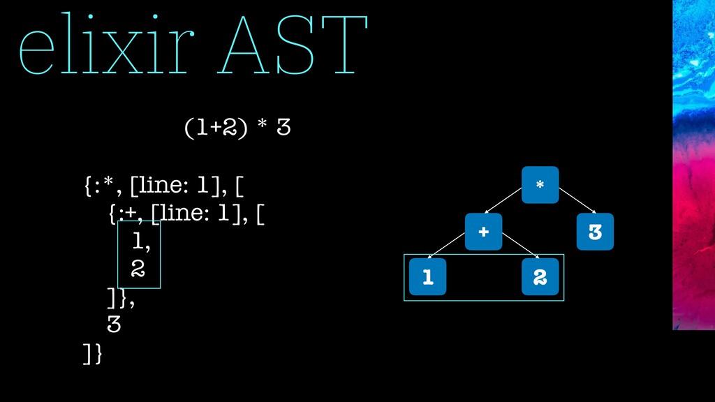 elixir AST * + 3 1 2 (1+2) * 3 {:*, [line: 1], ...