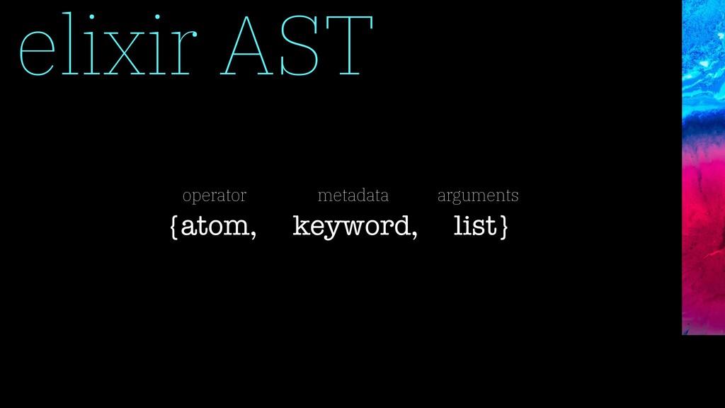 elixir AST {atom, keyword, list} operator metad...