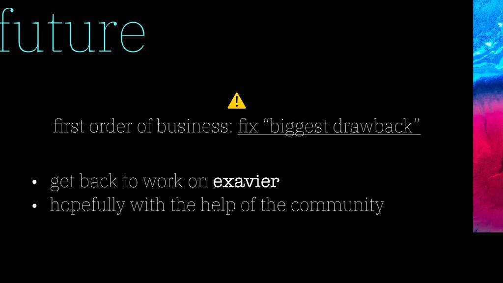future • get back to work on exavier • hopefull...