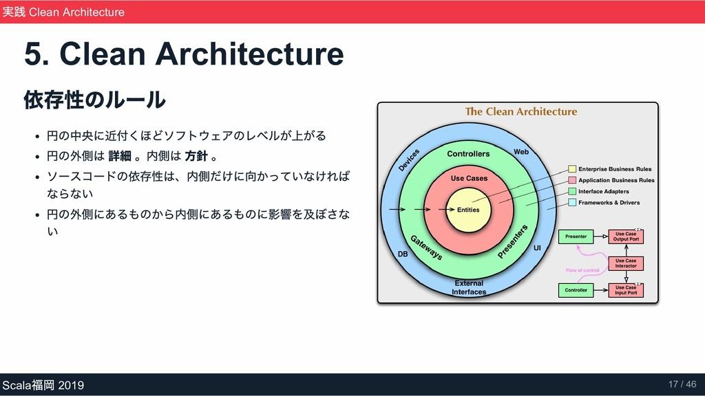 依存性のルール 円の中央に近付くほどソフトウェアのレベルが上がる 円の外側は 詳細 。内側は ...