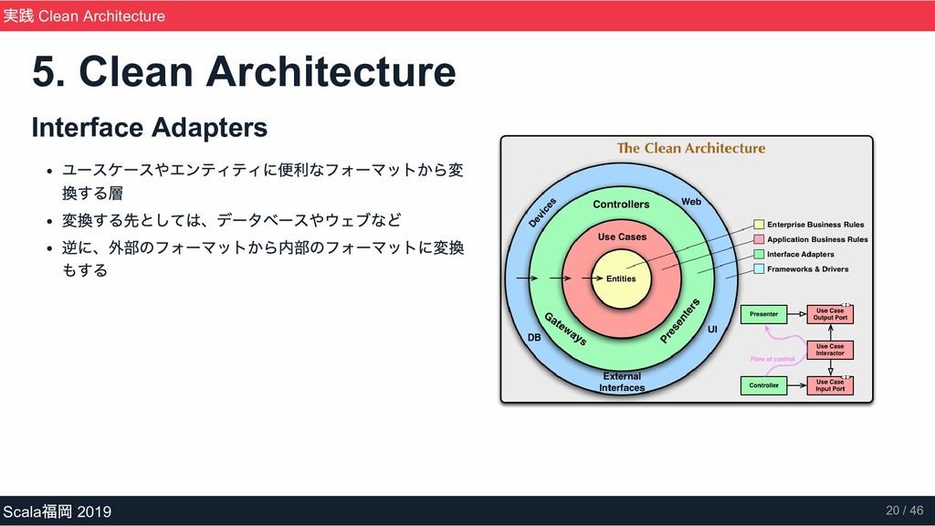 Interface Adapters ユースケースやエンティティに便利なフォーマットから変 換...