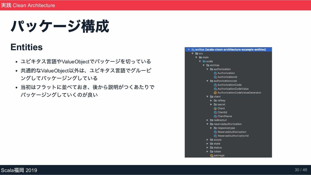 Entities ユビキタス言語やValueObject でパッケージを切っている 共通的なV...