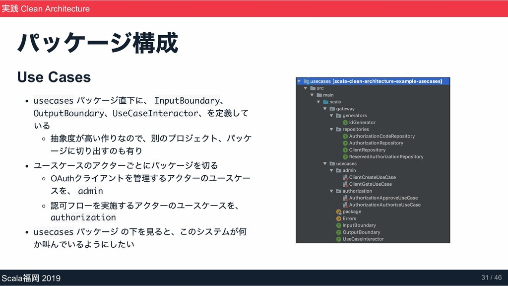 Use Cases usecases パッケージ直下に、 InputBoundary 、 Ou...
