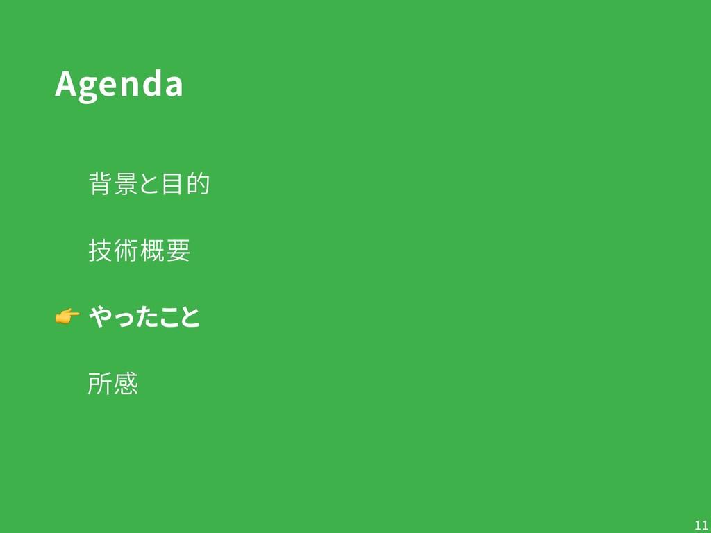 Agenda   背景と目的   技術概要  やったこと   所感 !11