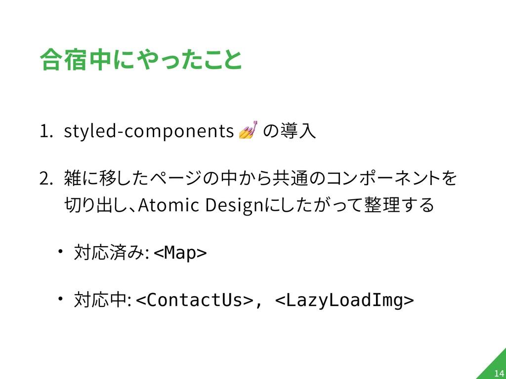 合宿中にやったこと 1. styled-components  の導入 2. 雑に移したページ...