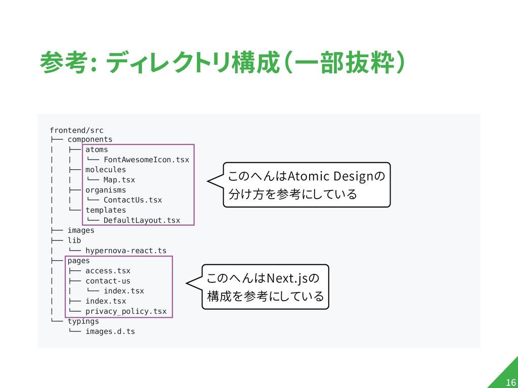 """参考: ディレクトリ構成(一部抜粋) !16 frontend/src !"""""""" compone..."""