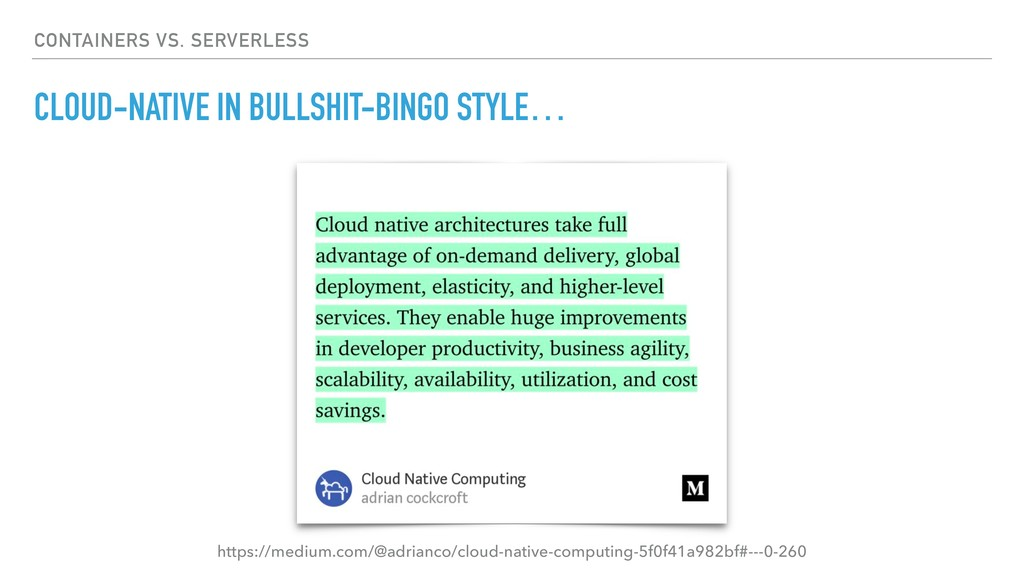 CONTAINERS VS. SERVERLESS CLOUD-NATIVE IN BULLS...