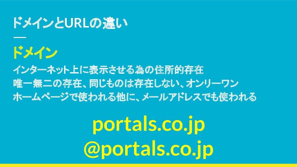 ドメインとURLの違い ドメイン インターネット上に表示させる為の住所的存在 唯一無二の存在、...