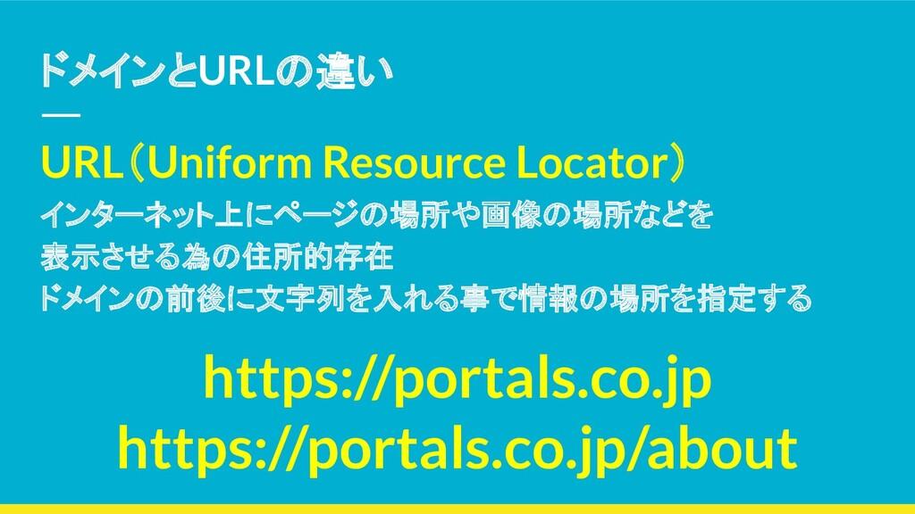 ドメインとURLの違い URL(Uniform Resource Locator) インターネ...
