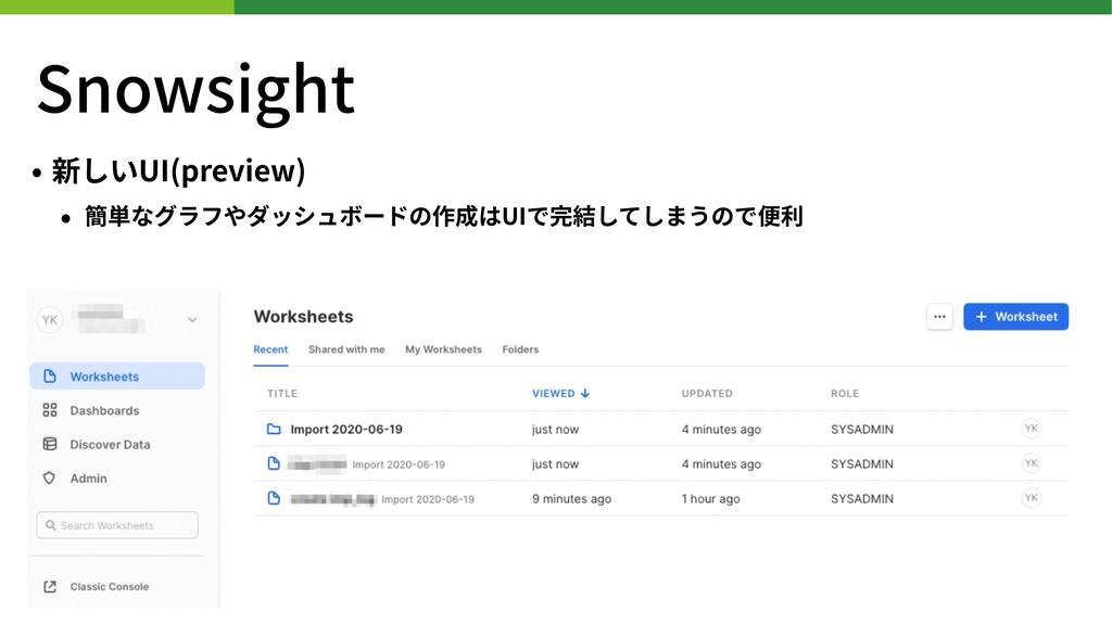 Snowsight • 新しいUI(preview) • 簡単なグラフやダッシュボードの作成は...