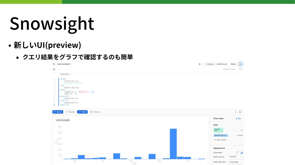 Snowsight • 新しいUI(preview) • クエリ結果をグラフで確認するのも簡単