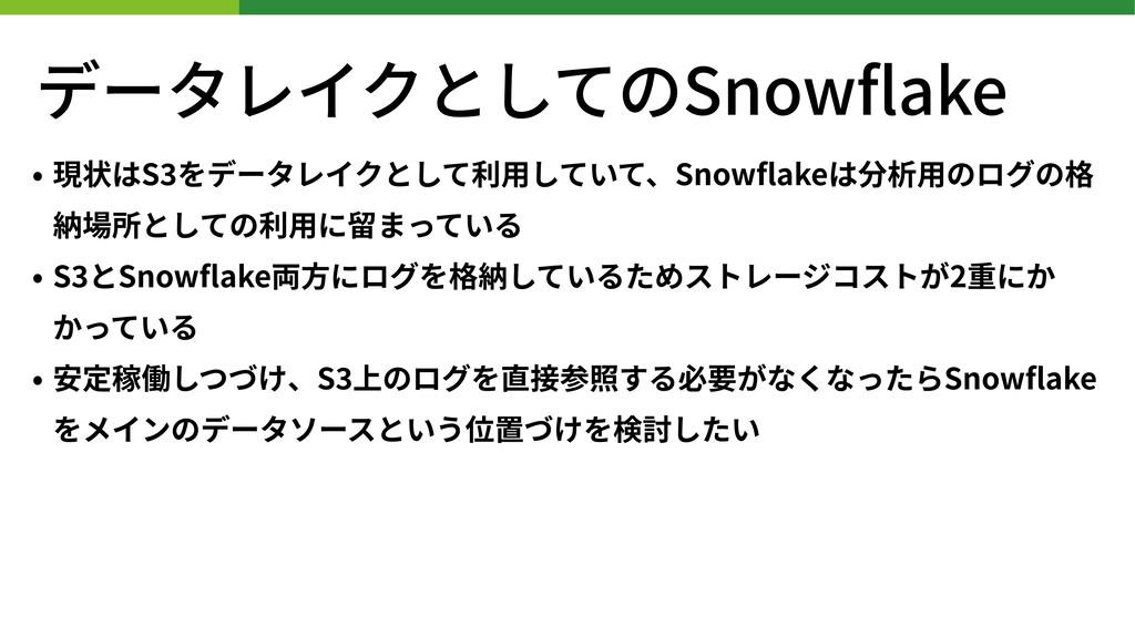 データレイクとしてのSnowflake • 現状はS をデータレイクとして利⽤していて、Snow...
