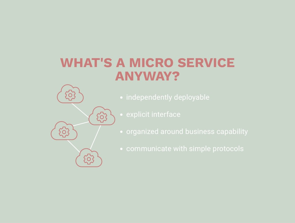 WHAT'S A MICRO SERVICE ANYWAY? independently de...