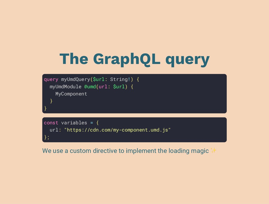 The GraphQL query query myUmdQuery($url: String...