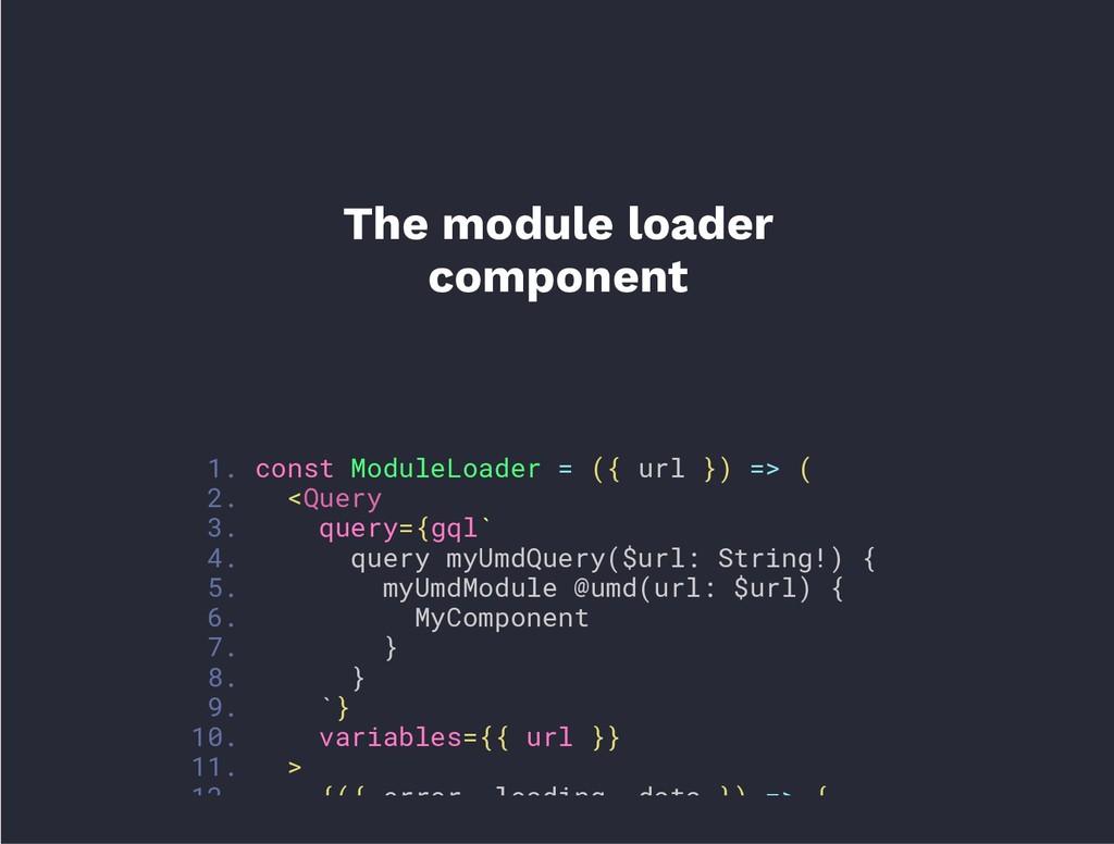 1. const ModuleLoader = ({ url }) => ( 2. <Quer...