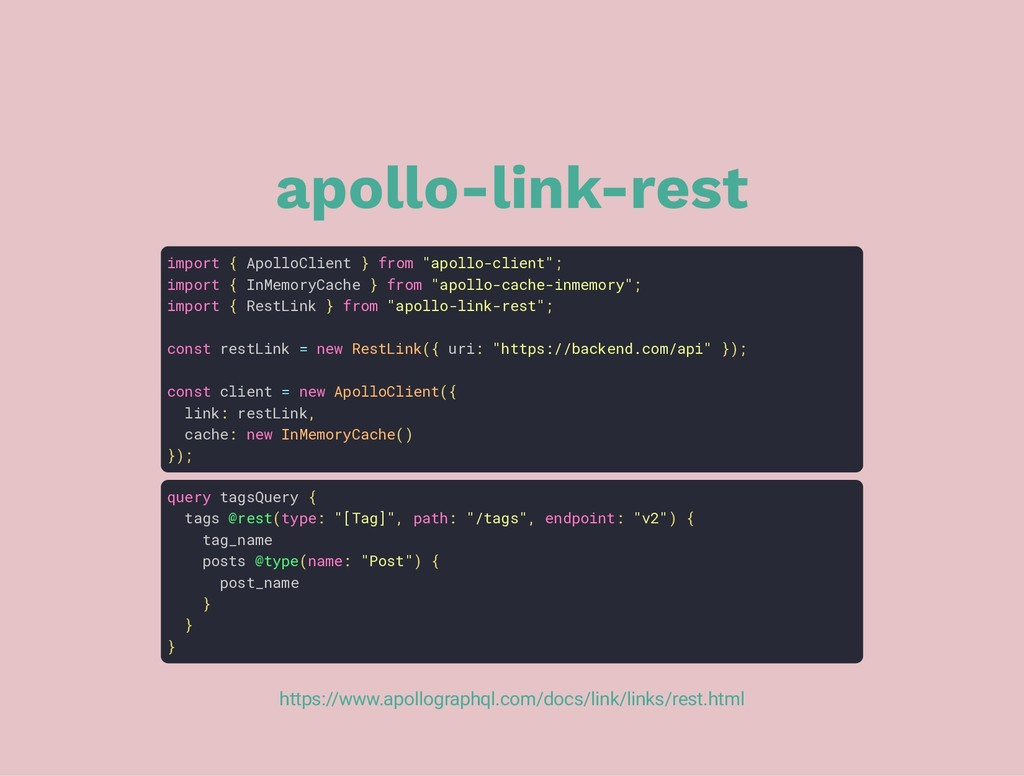 "apollo-link-rest import { ApolloClient } from ""..."