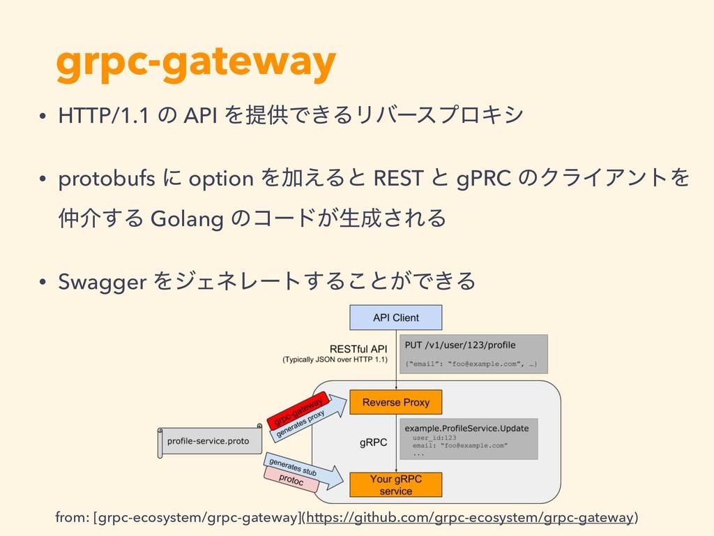 grpc-gateway • HTTP/1.1 ͷ API ΛఏڙͰ͖ΔϦόʔεϓϩΩγ • ...