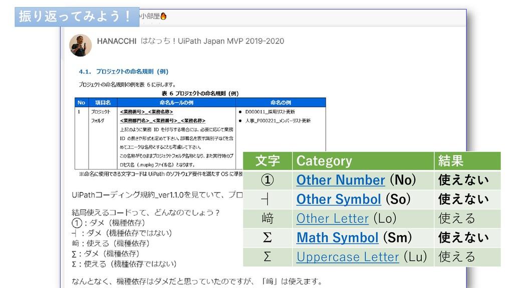 文字 Category 結果 ① Other Number (No) 使えない ┤ Other...