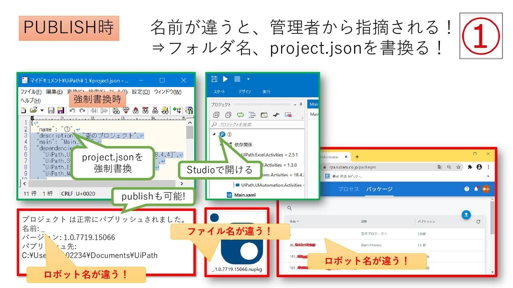 project.jsonを 強制書換 Studioで開ける プロジェクト は正常にパブリッシュ...
