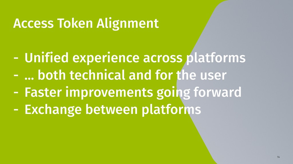 14 Access Token Alignment - Unified experience ...