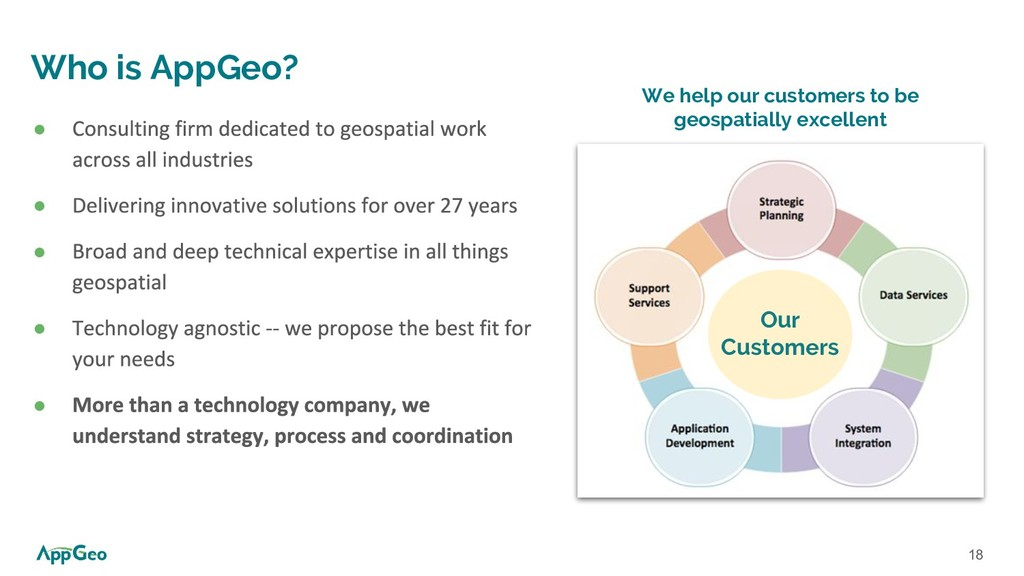18 ● ● ● ● ● We help our customers to be geospa...