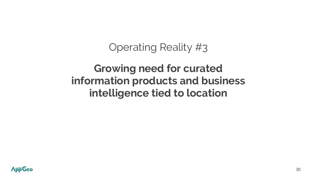 30 Operating Reality #3 Growing need for curate...