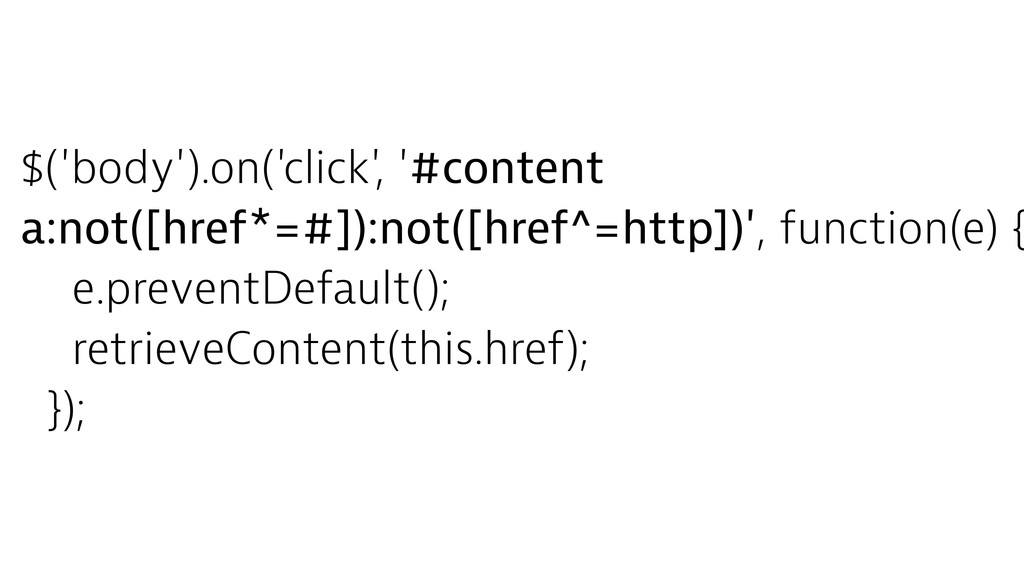 $('body').on('click', '#content a:not([href*=#]...