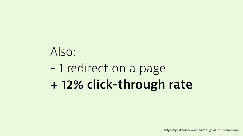 Also: - 1 redirect on a page + 12% click-throug...