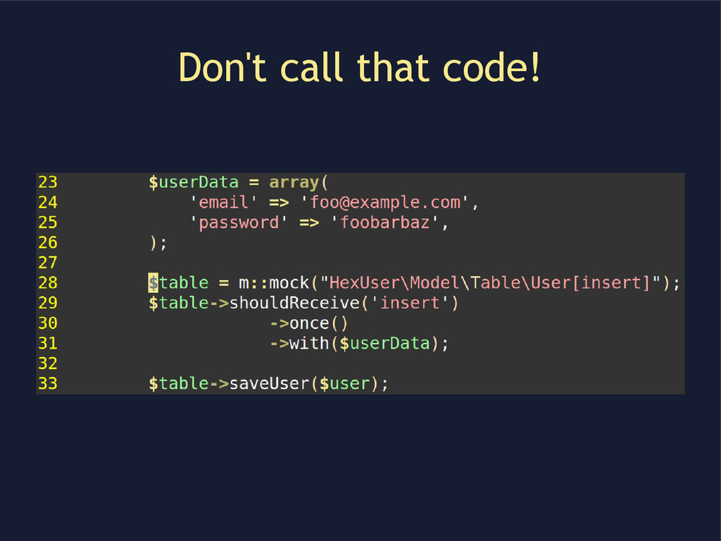 Don't call that code!