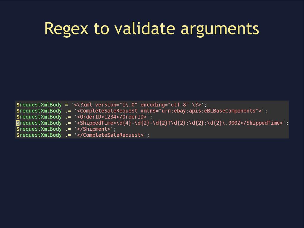 Regex to validate arguments