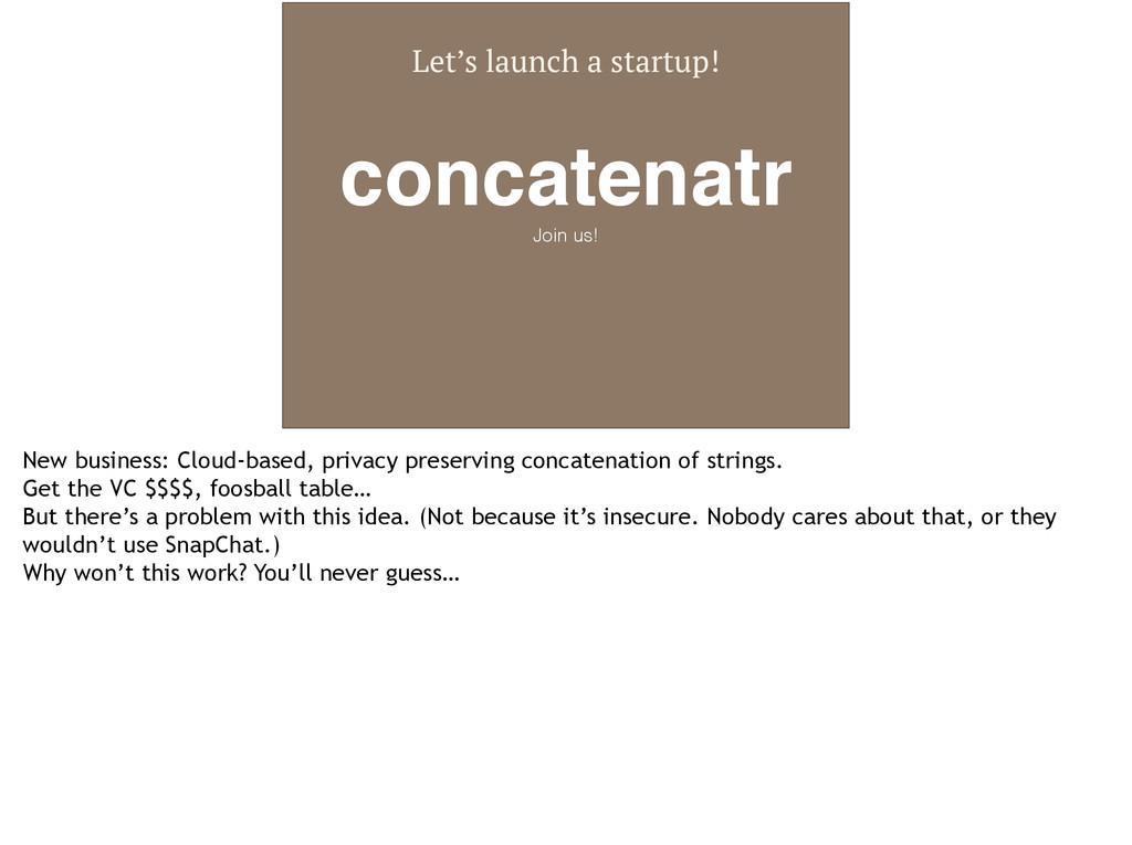 Let's launch a startup! concatenatr Join us! Ne...