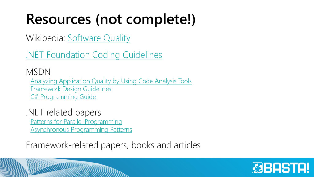 Resources (not complete!) Wikipedia: Software Q...