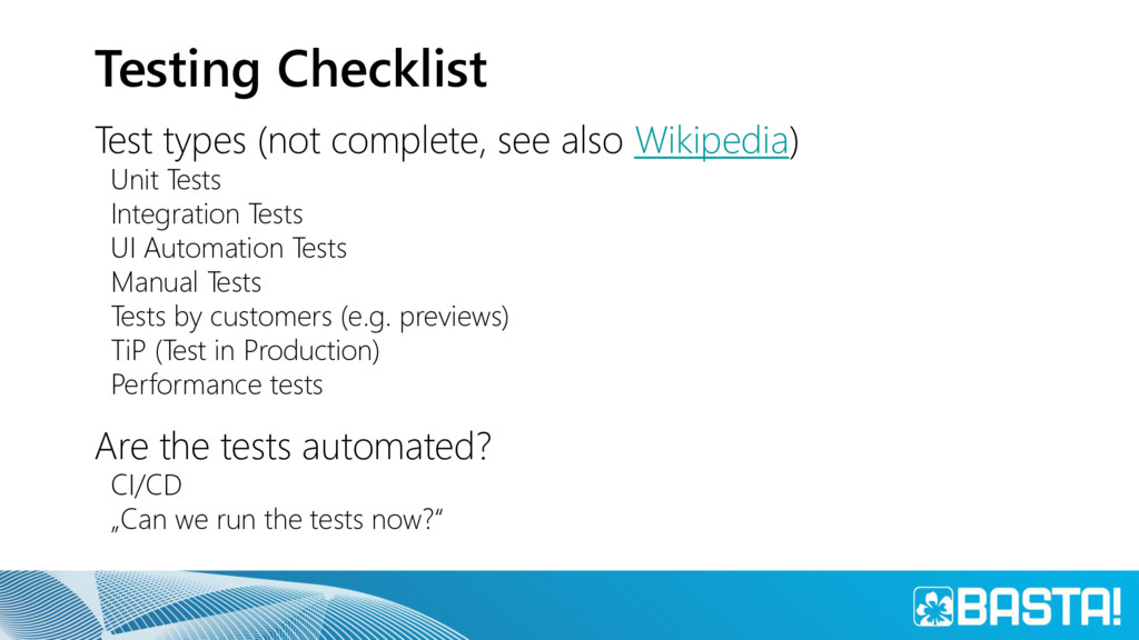 Testing Checklist Test types (not complete, see...