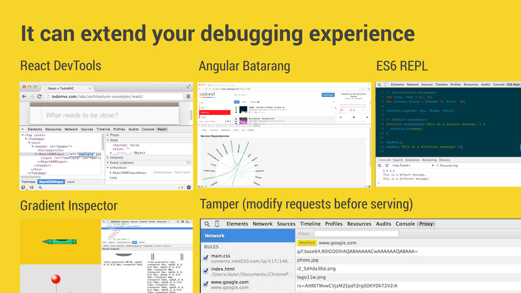 React DevTools It can extend your debugging exp...