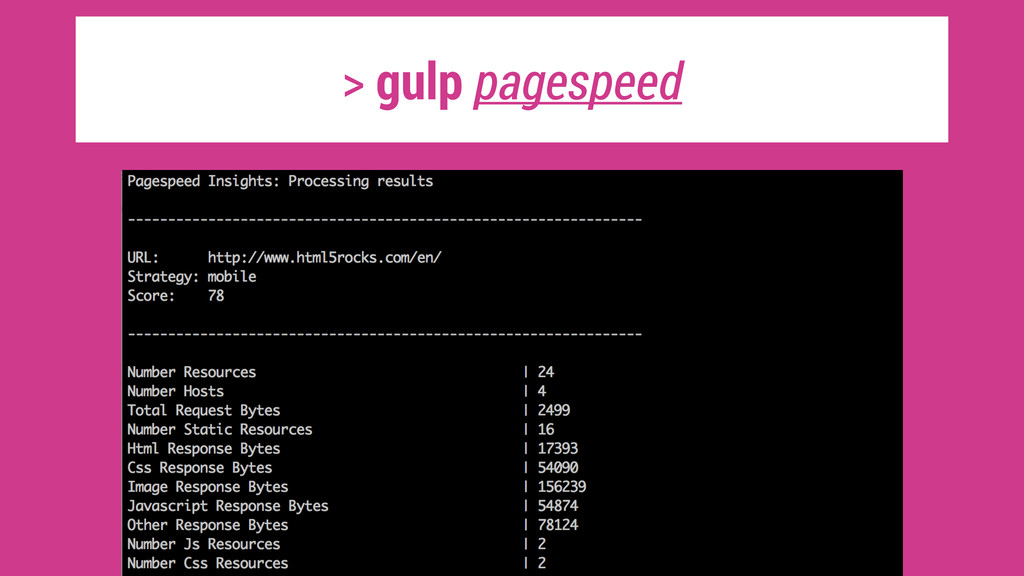 > gulp pagespeed