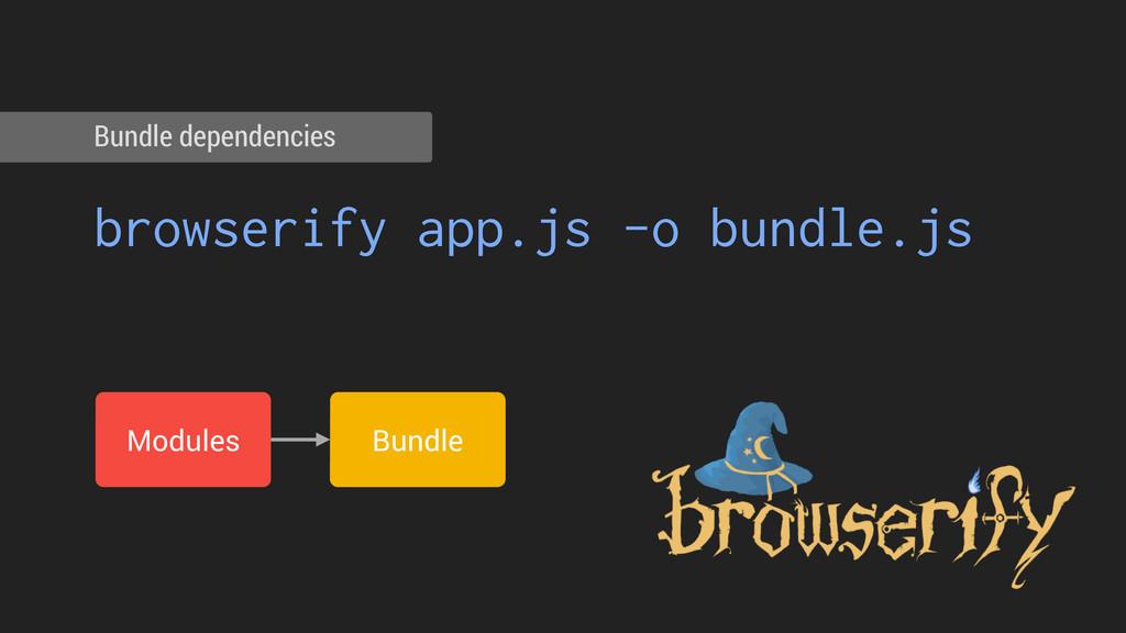 browserify app.js -o bundle.js Bundle dependenc...