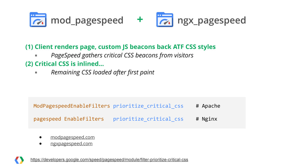 (1) Client renders page, custom JS beacons back...