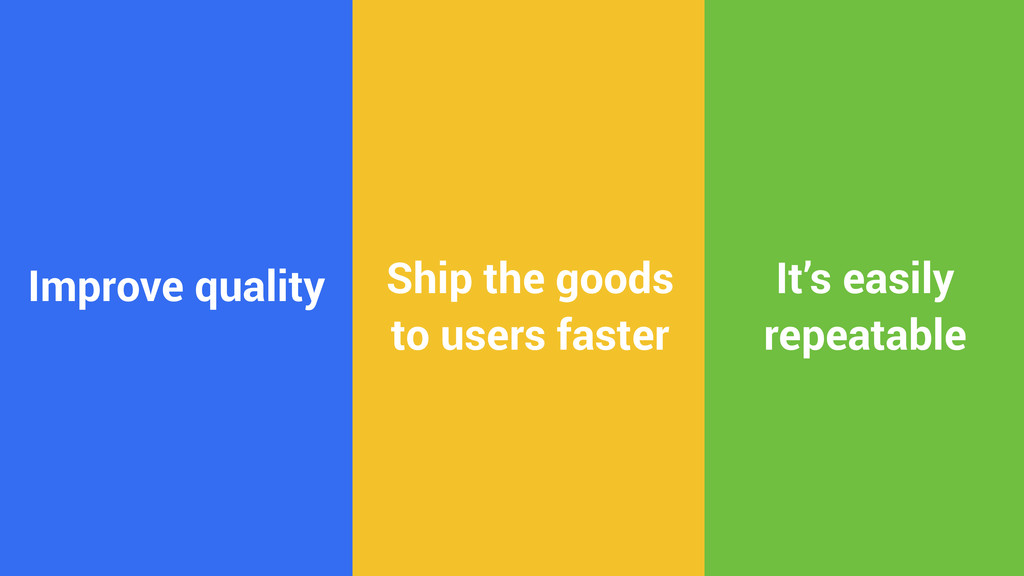 Improve quality Ship the goods to users faster ...