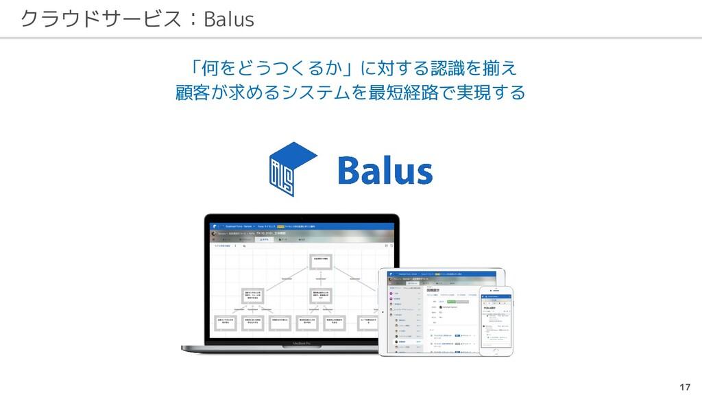 クラウドサービス:Balus 17 「何をどうつくるか」に対する認識を揃え 顧客が求めるシステ...
