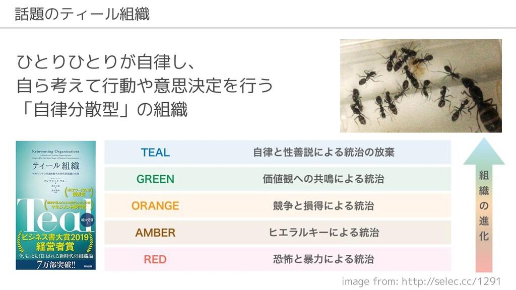 話題のティール組織 image from: http://selec.cc/1291 ひとりひ...